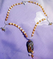 pearls & dragonflies necklace