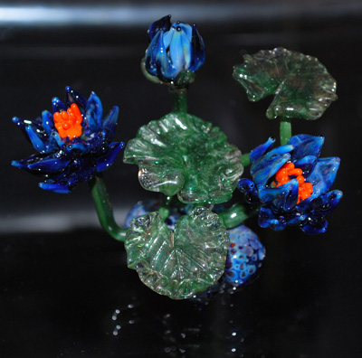 Blue Glass Waterlily Sculpture